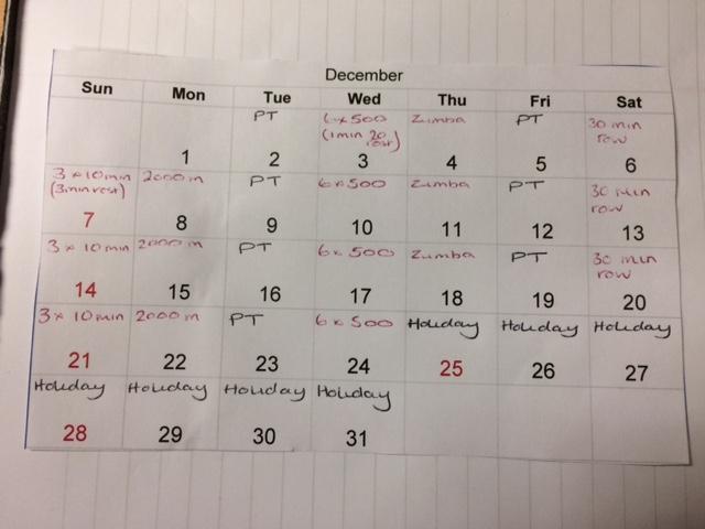 rowing calendar for dec 2014